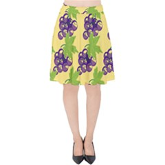 Grapes Background Sheet Leaves Velvet High Waist Skirt by Jojostore