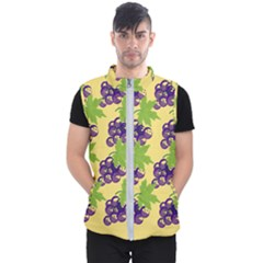 Grapes Background Sheet Leaves Men s Puffer Vest by Jojostore