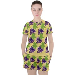 Grapes Background Sheet Leaves Women s Tee And Shorts Set