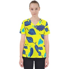 Leaves Leaf Women s V Neck Scrub Top by Mariart