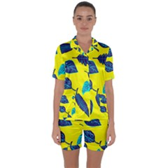 Leaves Leaf Satin Short Sleeve Pyjamas Set