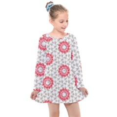 Stamping Pattern Red Kids  Long Sleeve Dress