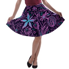 Stamping Pattern Leaves Purple A Line Skater Skirt