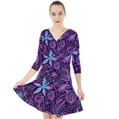 Stamping Pattern Leaves Purple Quarter Sleeve Front Wrap Dress