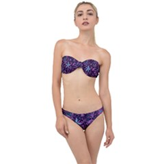 Stamping Pattern Leaves Purple Classic Bandeau Bikini Set