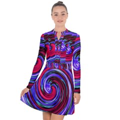 Swirl Vortex Motion Long Sleeve Panel Dress