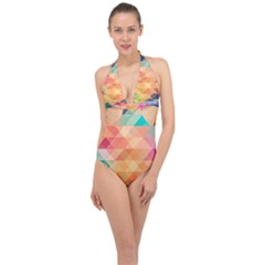 Texture Triangle Halter Front Plunge Swimsuit