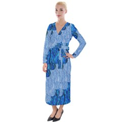 Texture Surface Blue Shapes Velvet Maxi Wrap Dress