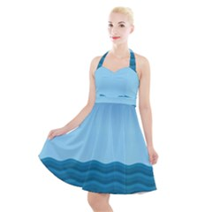 Making Waves Halter Party Swing Dress  by WensdaiAddamns