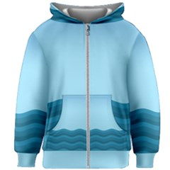 Making Waves Kids  Zipper Hoodie Without Drawstring by WensdaiAddamns