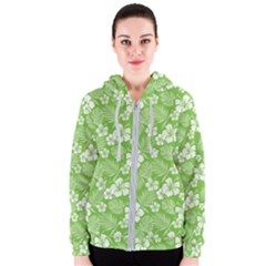 Colorful Tropical Hibiscus Pattern Women s Zipper Hoodie