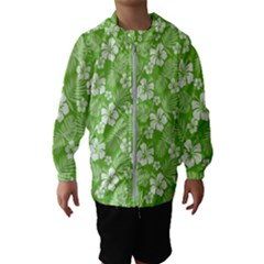 Colorful Tropical Hibiscus Pattern Hooded Windbreaker (kids)