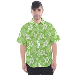 Colorful Tropical Hibiscus Pattern Men s Short Sleeve Shirt