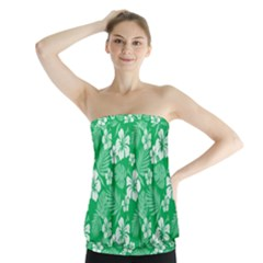 Colorful Tropical Hibiscus Pattern Strapless Top