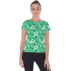 Colorful Tropical Hibiscus Pattern Short Sleeve Sports Top  by tarastyle