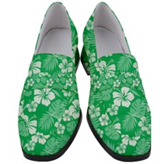 Colorful Tropical Hibiscus Pattern Women s Chunky Heel Loafers