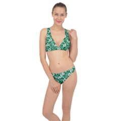 Colorful Tropical Hibiscus Pattern Classic Banded Bikini Set  by tarastyle