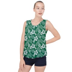 Colorful Tropical Hibiscus Pattern Bubble Hem Chiffon Tank Top by tarastyle