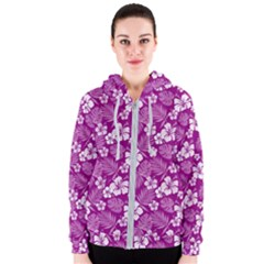 Colorful Tropical Hibiscus Pattern Women s Zipper Hoodie by tarastyle