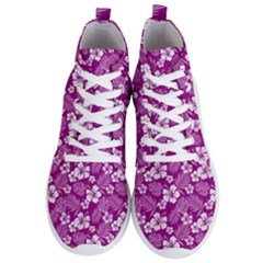 Colorful Tropical Hibiscus Pattern Men s Lightweight High Top Sneakers by tarastyle