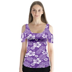 Colorful Tropical Hibiscus Pattern Butterfly Sleeve Cutout Tee