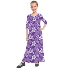 Colorful Tropical Hibiscus Pattern Kids  Quarter Sleeve Maxi Dress