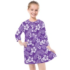Colorful Tropical Hibiscus Pattern Kids  Quarter Sleeve Shirt Dress by tarastyle