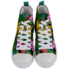 Tropical Greens Leaves Women s Mid Top Canvas Sneakers