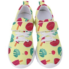 Watermelon Leaves Strawberry Women s Velcro Strap Shoes