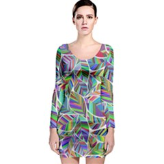Leaves Leaf Nature Ecological Long Sleeve Bodycon Dress