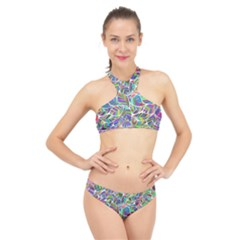 Leaves Leaf Nature Ecological High Neck Bikini Set