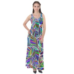 Leaves Leaf Nature Ecological Sleeveless Velour Maxi Dress