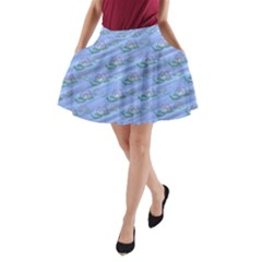 Waterlily Lotus Flower Pattern Lily A Line Pocket Skirt