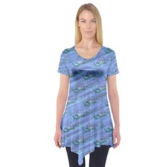 Waterlily Lotus Flower Pattern Lily Short Sleeve Tunic