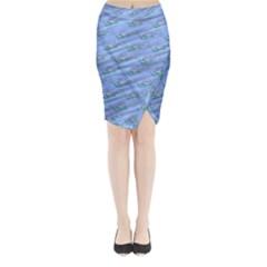 Waterlily Lotus Flower Pattern Lily Midi Wrap Pencil Skirt