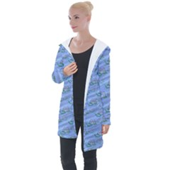 Waterlily Lotus Flower Pattern Lily Longline Hooded Cardigan