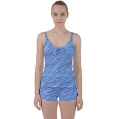 Waterlily Lotus Flower Pattern Lily Tie Front Two Piece Tankini