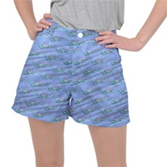 Waterlily Lotus Flower Pattern Lily Stretch Ripstop Shorts