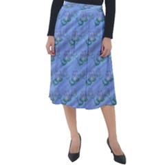 Waterlily Lotus Flower Pattern Lily Classic Velour Midi Skirt