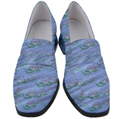 Waterlily Lotus Flower Pattern Lily Women s Chunky Heel Loafers