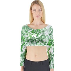 Seamless Tile Background Abstract Long Sleeve Crop Top by AnjaniArt