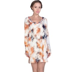 Multicolored Blur Abstract Texture Long Sleeve Nightdress by dflcprintsclothing