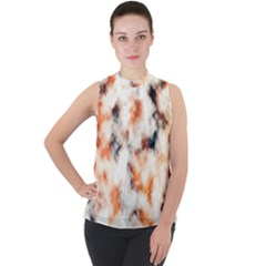 Multicolored Blur Abstract Texture Mock Neck Chiffon Sleeveless Top by dflcprintsclothing