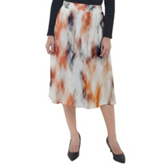 Multicolored Blur Abstract Texture Classic Velour Midi Skirt