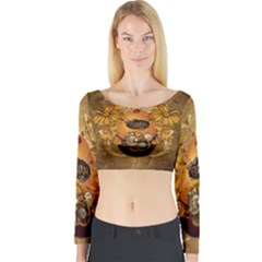 Awesome Steampunk Easter Egg With Flowers, Clocks And Gears Long Sleeve Crop Top by FantasyWorld7