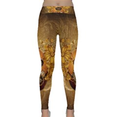 Awesome Steampunk Easter Egg With Flowers, Clocks And Gears Classic Yoga Leggings