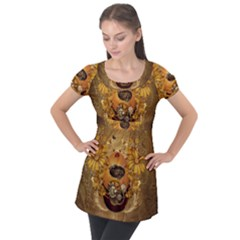 Awesome Steampunk Easter Egg With Flowers, Clocks And Gears Puff Sleeve Tunic Top