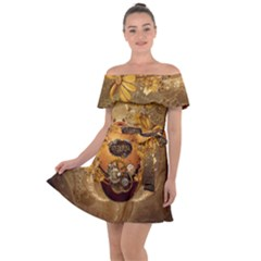 Awesome Steampunk Easter Egg With Flowers, Clocks And Gears Off Shoulder Velour Dress