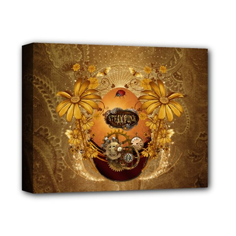 Awesome Steampunk Easter Egg With Flowers, Clocks And Gears Deluxe Canvas 14  X 11  (stretched)