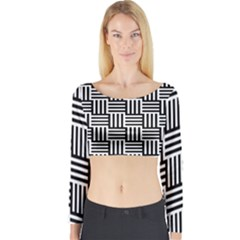 Black And White Basket Weave Long Sleeve Crop Top